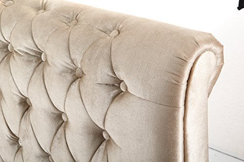 5FT KINGSIZE CHESTERFIELD SLEIGH STYLE UPHOLSTERED VELVET FABRIC DESIGNER BED FRAME IN CHAMPAGNE