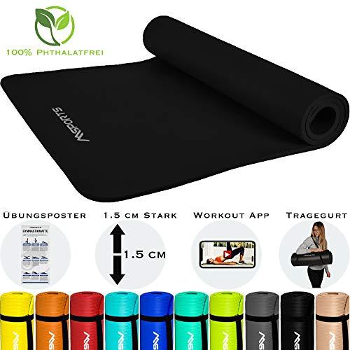 MSPORTS Gymnastikmatte Premium inkl. Tragegurt + Übungsposter + Workout App I Hautfreundliche Fitnessmatte 190 x 60 x 1,5 cm - Schwarz-Matt - Phthalatfreie Yogamatte