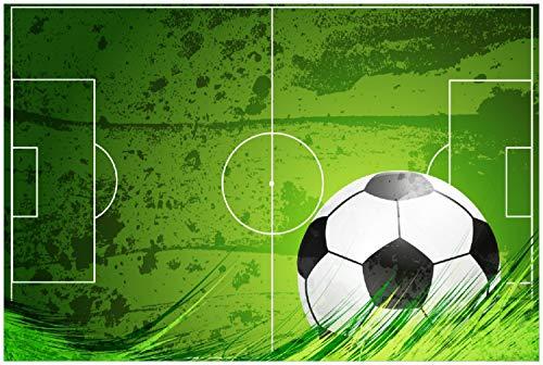 Wallario XXL Poster - Fußball-Feld klassisch grün mit Ball in Premiumqualität, Größe: 100 x 150 cm