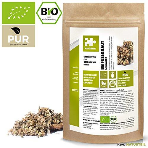 NATURTEIL – BIO Beifußkraut Geschnitten - 100g - Gewürz, Vegan, frei von Zusätzen | Organic...