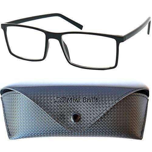 Klassische Nerd Lesebrille mit großen rechteckigen Gläsern - mit GRATIS Etui und Brillenputztuch | TR90 Kunststoff Rahmen (Schwarz) | Lesehilfe für Damen und Herren | +2.5 Dioptrien