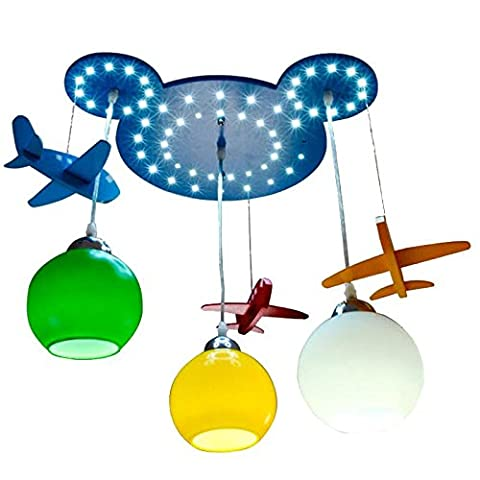 Wooden Bear Head Kid's Room Pendant Lamps Cute Airplane Baby Room Ceiling Lamp Boy's Bedroom LED