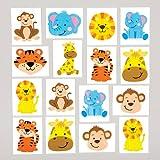 Calcomanías de Animales de la Jungla Tatuajes Infantiles Perfectos como Relleno de Piñata Premios para Niños y Regalos de Fiestas (Pack de 24)