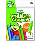 LeapFrog Jumbo Washable Dry Erase Crayons, 8 Colors with Sharpener (CYD56)