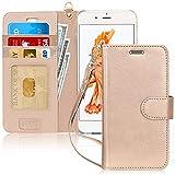 FYY iPhone 6S Plus Coque, Coque iPhone 6 Plus, [Or Luxueux] Étui en Cuir de première qualité avec Coverture Toute-Puissante pour iPhone 6 Plus/6S Plus Or