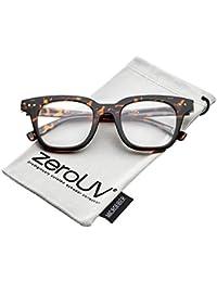 5b34520714f zeroUV - Modern Metal Rivets Square Clear Flat Lens Horn Rimmed Eyeglasses  46mm (Tortoise