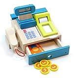 Tolle Spielkasse aus Holz mit integriertem Taschenrechner mit Sound