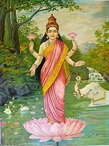Huile sur toile - 18 x 24 inches / 46 x 61 CM - Raja Ravi Varma - Lakshmi, la déesse de la richesse.