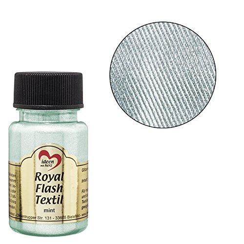 Royal Flash Textil, Glitzer-Metallic-Farbe | hochdeckend, cremige Textilfarbe auf Wasserbasis | für helle und dunkle Textilien | 50 ml (mint) -