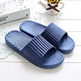 Slipper Footwear Non-slip Waterproof Bathroom Indoor Thick Sole Flexible Summer Female Male PCV (10 Colors And 5 Sizes Available) TINGTING (Color : Navy blue, Size : 44-45)