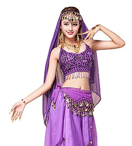YiJee Mujer Oriental Danza Disfraz Danza del Vientre Tops+Belt+Pants+Veil Morado 2