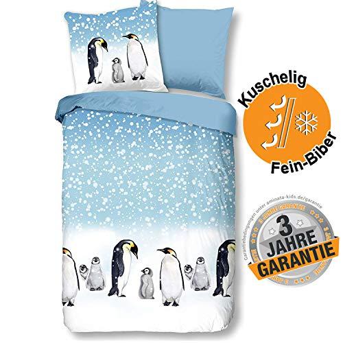 Aminata Kids Biber Bettwäsche Pinguin 135x200 cm + 80x80 cm aus Baumwolle mit Reißverschluss, unsere Kinderbettwäsche mit Winter-Motiv ist weich und kuschelig