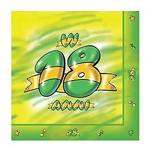 Magic Party TE11-Servilleta de papel 18años 3capas 33x 33cm, paquete de 20unidades, verde