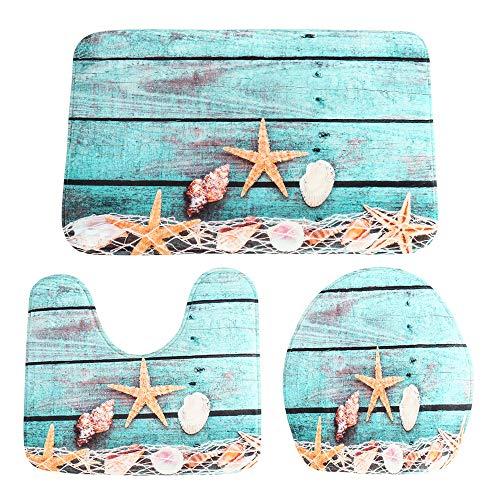 Enjoygoeu Badematten Set 3tlg Badgarnitur Badezimmer Matte Dusch Bade Matte Bodenmatte Vorleger Teppich Sitzmatte Starfish Net 3D Muster