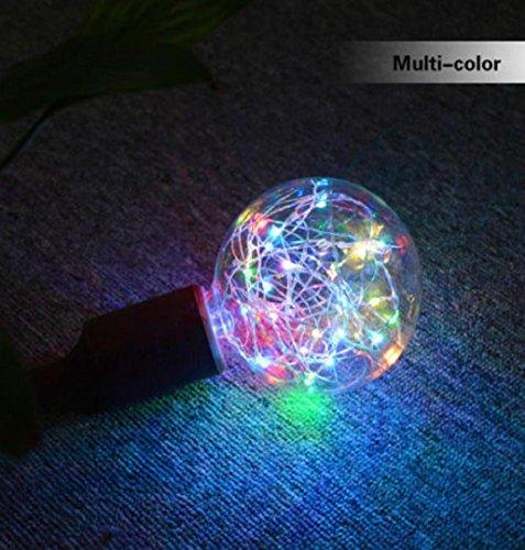 ✽ZEZKT-Home✽Solar Lichterkette Weihnachten LED Glühbirne E27 Sternen Fee String Weihnachten Party Lampe Home Decor Garten Globe Außen Warmweiß (Mehrfarbig)