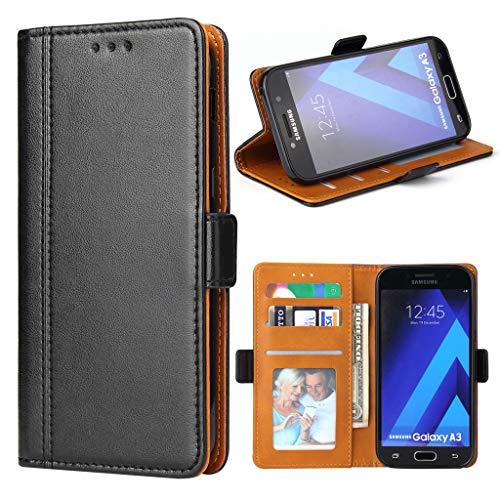 Bozon Galaxy A3 2017 Hülle, Leder Tasche Handyhülle für Samsung Galaxy A3 (2017) Schutzhülle mit Ständer und Kartenfächer/Magnetverschluss (Schwarz)