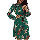 FRAUIT Damen Blumendruck Langarm Bodycon Mini Strickkleid Enges Kleid Sommerkleid Shirt Kleid mit Faultier Fox Dress Dog Dress Stretchable Waist Design