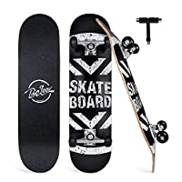 """BELEEV Skateboards for Beginners, 31""""x8"""" Complete Skateboard for Kids Teens & Adults, 7 Layer Canadian Maple Double Kick Deck Concave Cruiser Trick Skateboard with All-in-One Skate T-Tool (Black)"""