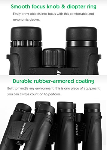 Eyeskey Classic HD 10x42 Binoculars for Adults | Waterproof Fog Proof | BAK4 Roof Prism | FMC Lenses | Professional Binos for Outdoor Hunting Hiking Nature Watching Sports Events and Concerts