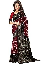 Regent-e Fashion Women's Cotton Silk Saree (Red & Black)