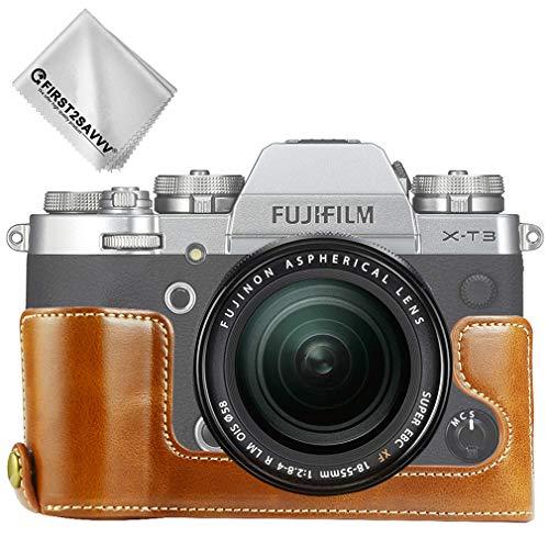 First2savvv marrón Funda Cámara Cuero de la PU cámara Digital Bolsa Caso Cubierta para Fuji Fujifilm X-T3 XT3 XJD-XT3-D09G11