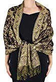 Peach Couture Women's Elegant Reversible Floral Paisley Pashmina Feel Shawl Wrap Mocha