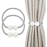 "Yesmin Curtain Tiebacks, 2 Pieces Pearl Ball 17"" Magnetic Curtain Tiebacks Curtain Drapes Clips Rope Holdbacks Curtain Holder Buckles, Silver Grey"