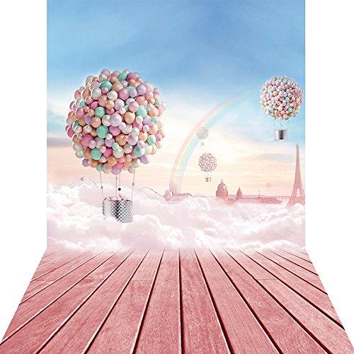 konpon 150x 300cm Baumwolle Polyester Fire Luftballons Fotografie Hintergrund Neugeborene Foto Studios Drop Sky Scenery Hintergrund kp-010