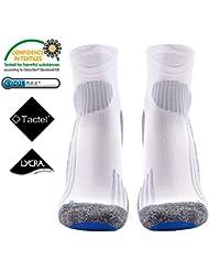 Running Sock -MEIKAN Calcetines para hombre,Athletic calcetines cortos deportivos profesionales Fast Dry Humedad anti-blister transpirable para ciclismo, correr, MARATHON de tenis, correr, triatlón, Hombres y Mujeres (Blanco, 39-43)