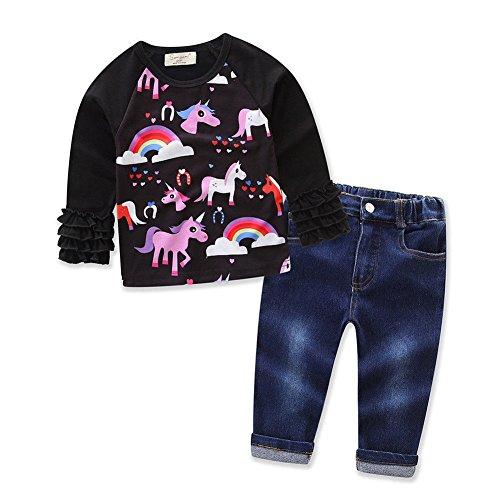 zooarts für 1–7Jahre Kinder Baby Mädchen, Sleeve Rainbow Pferd Print Jumper Tops + Jean Hose Strampler Outfit Boutique Kleidung SET, Baumwollmischung, multi, 3-4 Jahre (Baby Pferd Jumper)