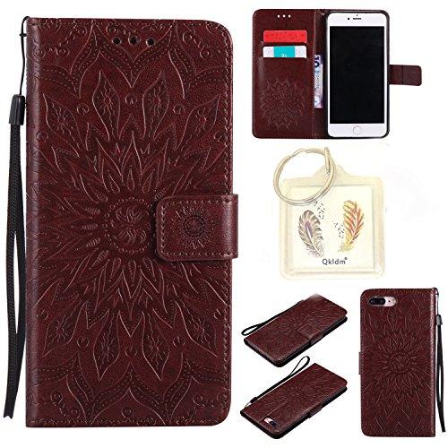 """für Iphone 7 Plus (5,5"""") Geprägte Muster Handy PU Leder Silikon Schutzhülle Handy case Book Style Portemonnaie Design für Apple Iphone7 Plus (5,5"""") + Schlüsselanhänger(2W) (8)"""