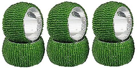 Serviette Vintage Ringe Satz von 6 Glasperlen Serviettenhalter grüne Runde Abendessen Dekoration - 6,4