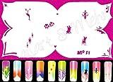AIRBRUSH-SCHABLONE, wiederverwendbar, # MPF-1 Effektfrench, Tänzer, Reh, Pfoten, Sternchen ...