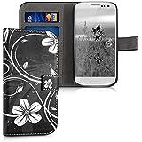 kwmobile Wallet Case Kunstlederhülle für Samsung Galaxy S3 i9300 / S3 Neo i9301 - Cover Flip Tasche in Blumen Swirl Design mit Kartenfach und Ständerfunktion in Weiß Schwarz