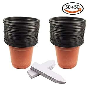 Whonline 50 vasi da fiori di plastica per semina 50 for Cartellini per piante