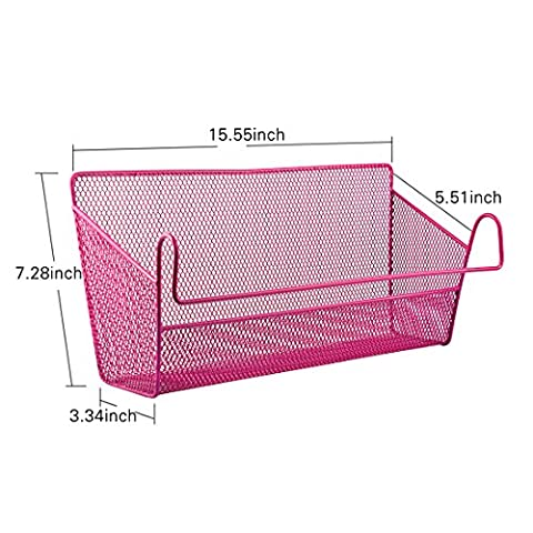 Hipsteen Dormitory Bedside Iron Wire Hanging Storage Supplies Desktop Corner Shelves Basket Holder Containers - Pink
