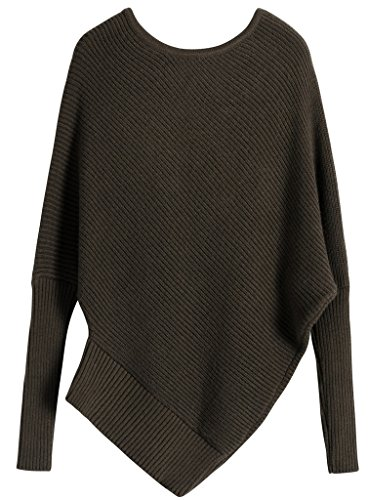 Vogueearth Femmes Batwing Manche Strapless Knit Sweater Chandail Tricots Pullover Marron