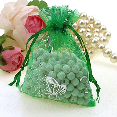 Weihnachten Süßigkeiten Tasche HKFV 100pcs bloße Organza-Hochzeitsfest-Bevorzugungs-Geschenk-Süßigkeit-Beutel-Schmucksache-Beutel (Grün) (Cookie-bevorzugung Taschen)