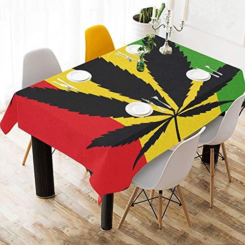Cool Green Cannabis Leaf Icon Baumwolle Leinen Printed Square Fleck Beständig Tischwäsche Tuch Benutzerdefinierte Abdeckung Tischdecke Für Küche Home Esszimmer Tischplatte Decor 60 X 84 Zoll Waschbar -