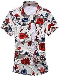 Newbestyle Men Summer Floral Print Shirt Short Sleeve Button Casual Shirt