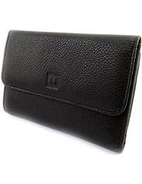 Hexagona [M2169] - Grand portefeuille zippé cuir 'Hexagona' marron foncé (cuir de vachette lisse)