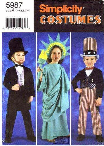 nittmuster Kinder Kostüme Uncle Sam ABE Freiheitsstatue Größe 3–8 (Freiheitsstatue Kostüm Für Kinder)