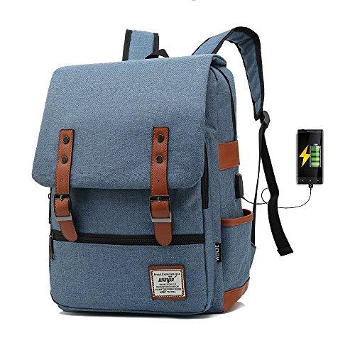 j015 17 inch Computer Bag Casual Unisex Waterproof Oxford School Backpack Women/ Men School Backpack Rucksack (Denim blue) Casual Womens Oxford
