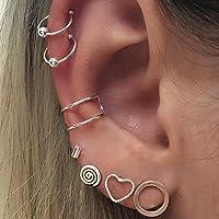 Bonytain 7PCS/Boemia rotonda cuore orecchio finto piercing naso anello trago orecchini ear cuff corpo gioielli per donne…