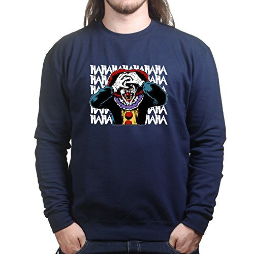 Mens Laughing Clown Scary Halloween Sweatshirt XL Navy Blue