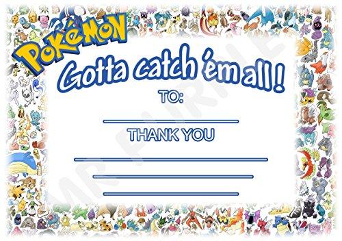 Pokemon-Dankeskarten für Teilnahme an Geburtstagsparty, in englischer Sprache,Querformat, Partyzubehör–DIN A6, 12Stück WITHOUT Envelopes