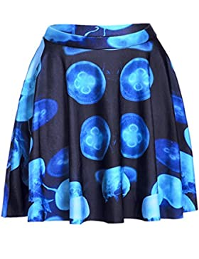 Honghu Verano Classic Digital Printing Impresión Falda para Mujer
