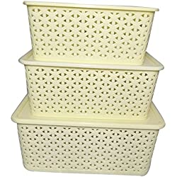 BASKET WITH BOX SET OF 3 (SMALL, MEDIUM & BIG) IVORY COLOUR