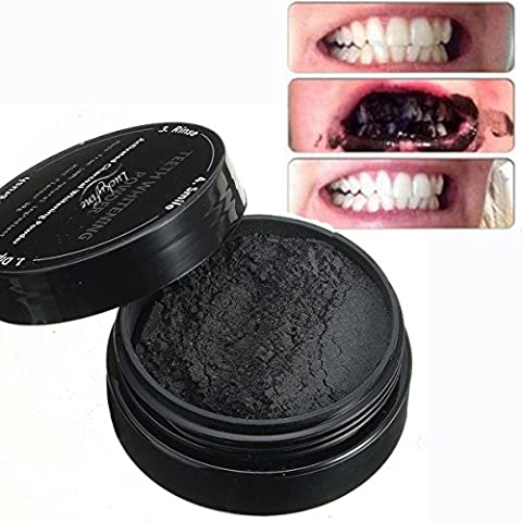 LuckyFine Activated Charcoal Teeth Whitening Natürliches Aktivkohle Zahnaufhellung pulver mit Aktivkohle