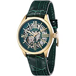 Thomas Earnshaw Armagh Men's Automatic Watch with Green Dial Analogue Display with Green Leather Strap ES-8037-07